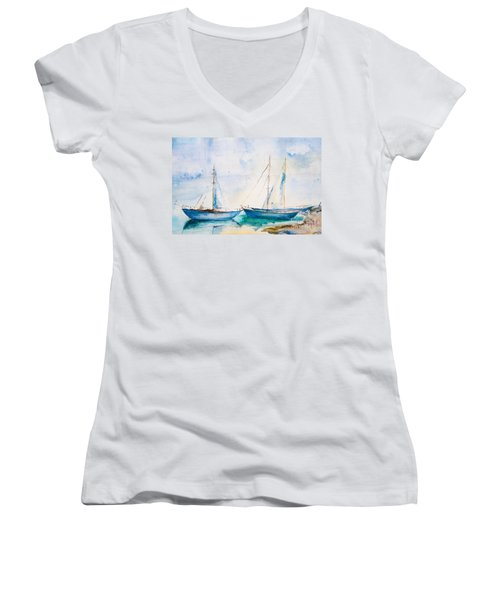 Ships In The Sea Women's V-Neck T-Shirt