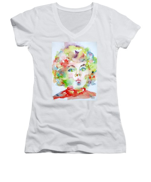 Shirley Temple - Watercolor Portrait.2 Women's V-Neck T-Shirt