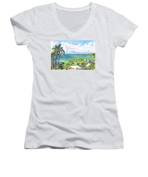 Shores Of Oahu Women's V-Neck (Athletic Fit)
