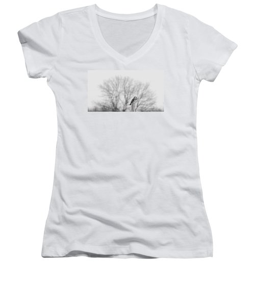 Short-eared Owl In Black And White Women's V-Neck (Athletic Fit)