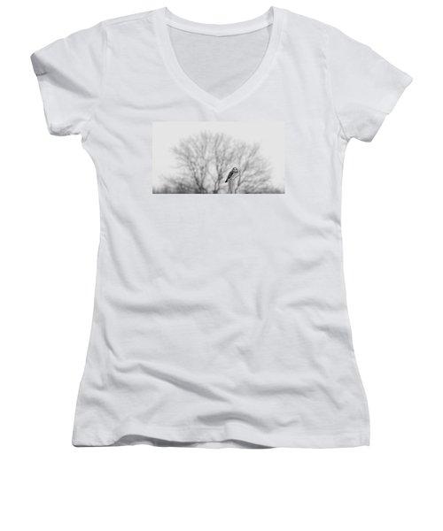 Short-eared Owl In Black And White Women's V-Neck T-Shirt