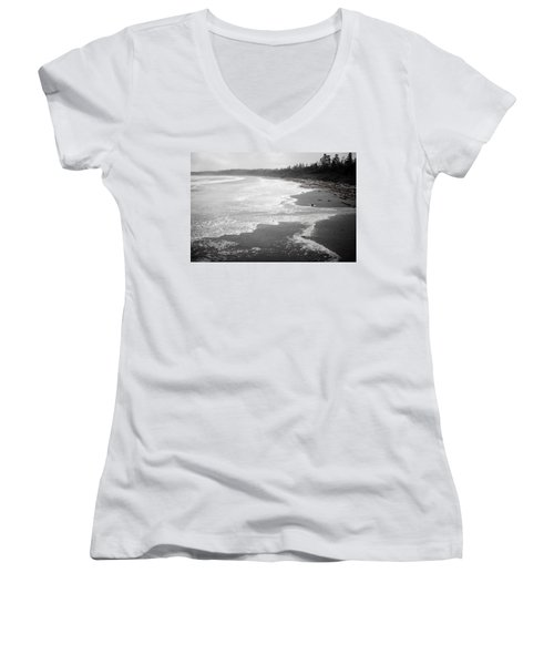 Winter At Wickaninnish Beach Women's V-Neck