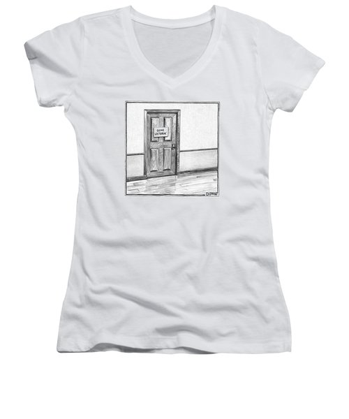 Shut Door In A Hallway With A Sign That Read Gone Women's V-Neck