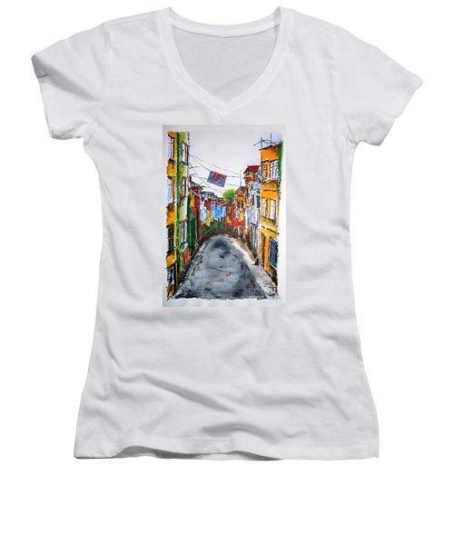 Side Street Women's V-Neck T-Shirt (Junior Cut) by Zaira Dzhaubaeva