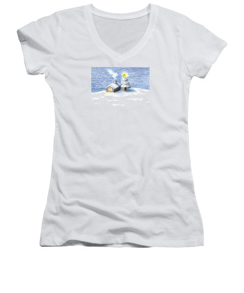 Women's V-Neck T-Shirt (Junior Cut) featuring the drawing Silent Night by Keiko Katsuta
