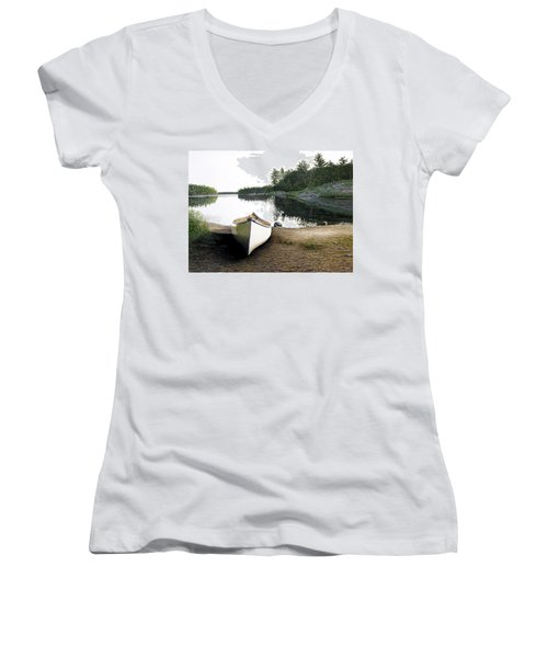 Silent Retreat Women's V-Neck T-Shirt (Junior Cut) by Kenneth M  Kirsch