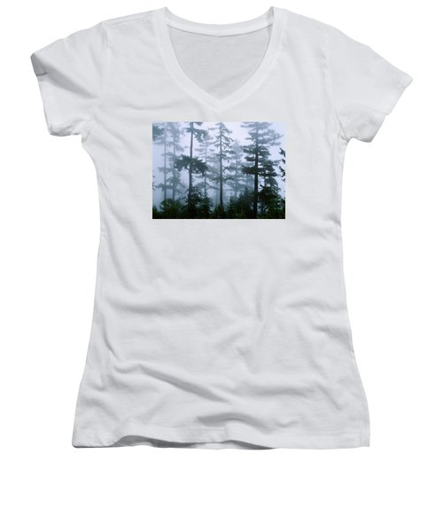 Silhouette Of Trees With Fog Women's V-Neck T-Shirt (Junior Cut) by Panoramic Images