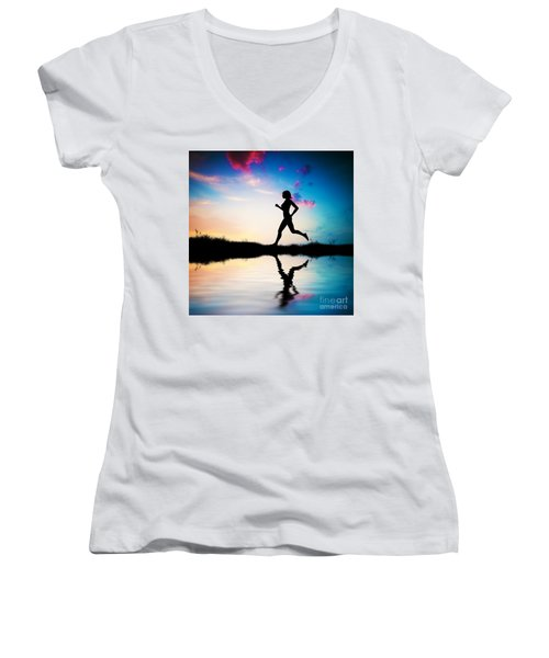 Silhouette Of Woman Running At Sunset Women's V-Neck T-Shirt
