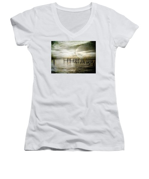 Women's V-Neck T-Shirt (Junior Cut) featuring the photograph Silhouettes  by Kathy Bassett