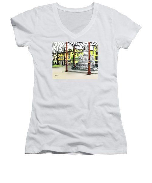 Women's V-Neck T-Shirt (Junior Cut) featuring the painting Silla Hotel Piazza Demidoff Florence by Albert Puskaric