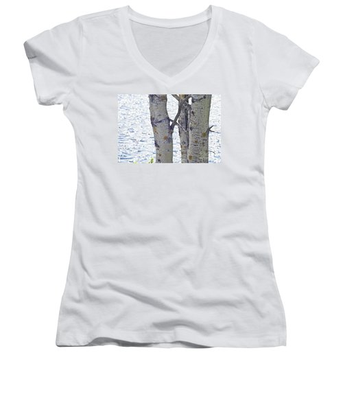 Silver Birch Trees At A Sunny Lake Women's V-Neck (Athletic Fit)