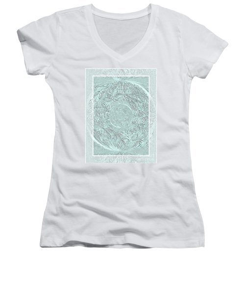 Women's V-Neck T-Shirt (Junior Cut) featuring the photograph Silver Ring by Oksana Semenchenko