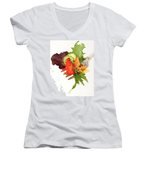 Silver Salad Fork Women's V-Neck T-Shirt