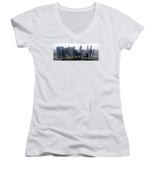 Women's V-Neck T-Shirt (Junior Cut) featuring the photograph Singapore Skyline by Shoal Hollingsworth