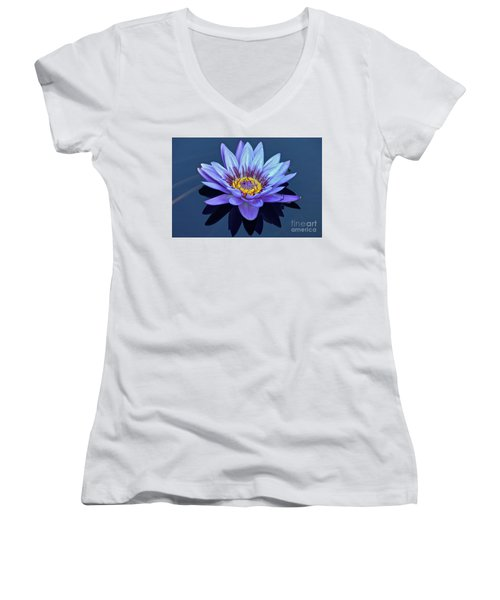 Single Lavender Water Lily Women's V-Neck (Athletic Fit)