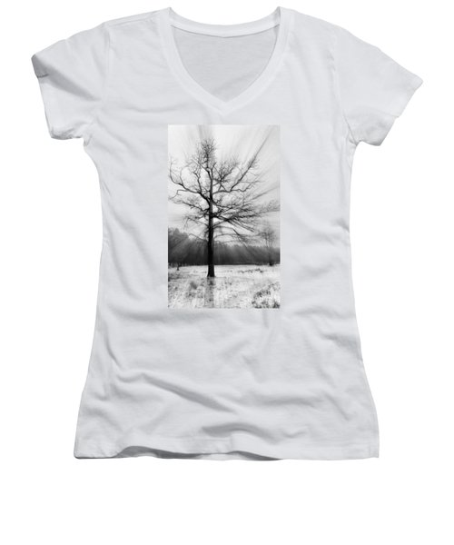 Single Leafless Tree In Winter Forest Women's V-Neck