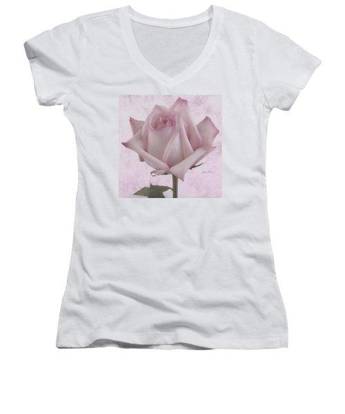 Single Pink Rose Blossom Women's V-Neck T-Shirt