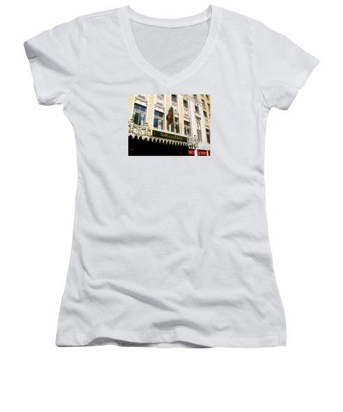 Sir Francis Drake Hotel Women's V-Neck T-Shirt (Junior Cut) by Connie Fox