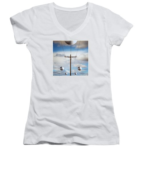 Sir I Suggest You Call The Phone Company Women's V-Neck T-Shirt (Junior Cut) by Gary Warnimont