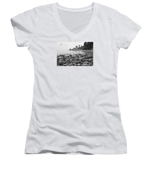 Sirmione Castle Women's V-Neck T-Shirt (Junior Cut) by Simona Ghidini