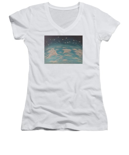 Women's V-Neck T-Shirt featuring the painting Sitting On Top Of The World by Thomasina Durkay