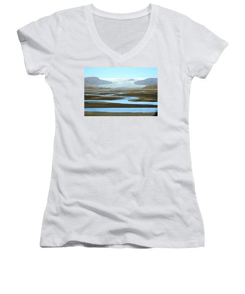 Women's V-Neck T-Shirt (Junior Cut) featuring the photograph Skaftafell Glacier by Paula Guttilla