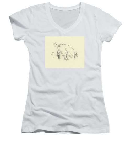 Sketch Of A Dog Digging A Hole Women's V-Neck