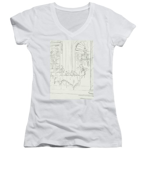 Sketch Of A Formal Dining Room Women's V-Neck