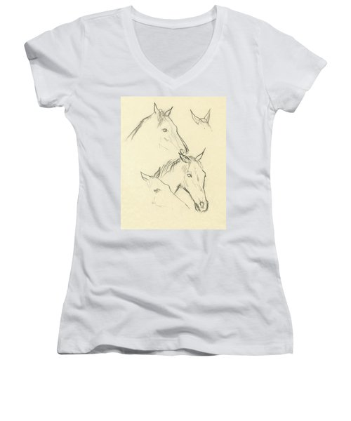 Sketch Of A Horse Head Women's V-Neck