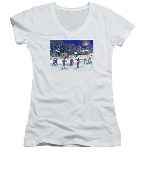 Ski Area Campton Mountain Women's V-Neck (Athletic Fit)