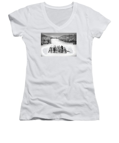 Ski Vermont At Middlebury Snow Bowl Women's V-Neck