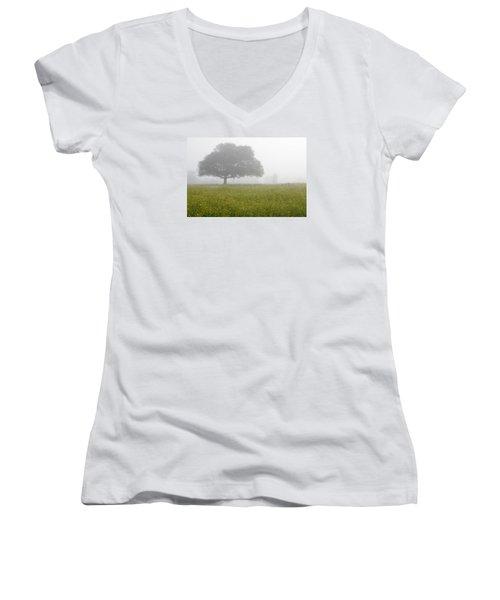Women's V-Neck T-Shirt (Junior Cut) featuring the photograph Skc 0056 Tree In Fog by Sunil Kapadia