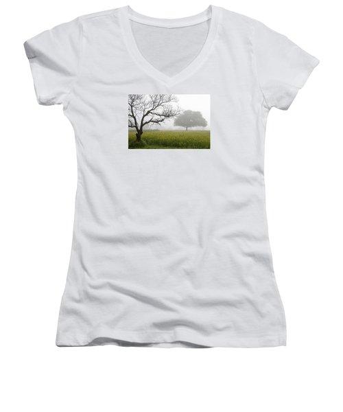 Women's V-Neck T-Shirt (Junior Cut) featuring the photograph Skc 0058 Contrasty Trees by Sunil Kapadia