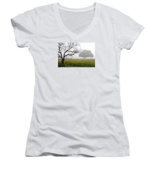 Skc 0058 Contrasty Trees Women's V-Neck T-Shirt