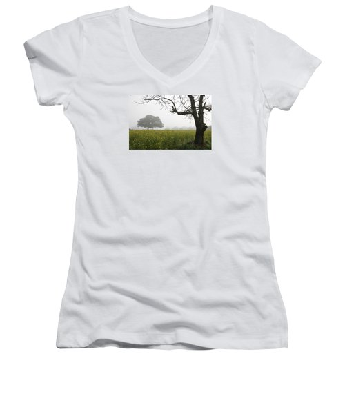 Women's V-Neck T-Shirt (Junior Cut) featuring the photograph Skc 0060 Framed Tree by Sunil Kapadia