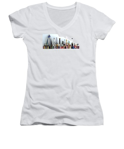 Skyline Sculpture Women's V-Neck T-Shirt