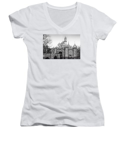 Sleeping Beauty Castle Disneyland Side View Bw Women's V-Neck T-Shirt (Junior Cut) by Thomas Woolworth