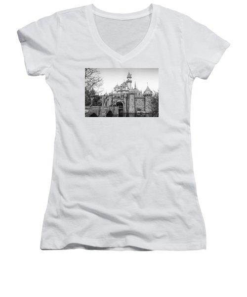 Sleeping Beauty Castle Disneyland Side View Bw Women's V-Neck T-Shirt