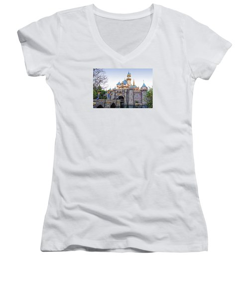 Sleeping Beauty Castle Disneyland Side View Women's V-Neck T-Shirt (Junior Cut) by Thomas Woolworth