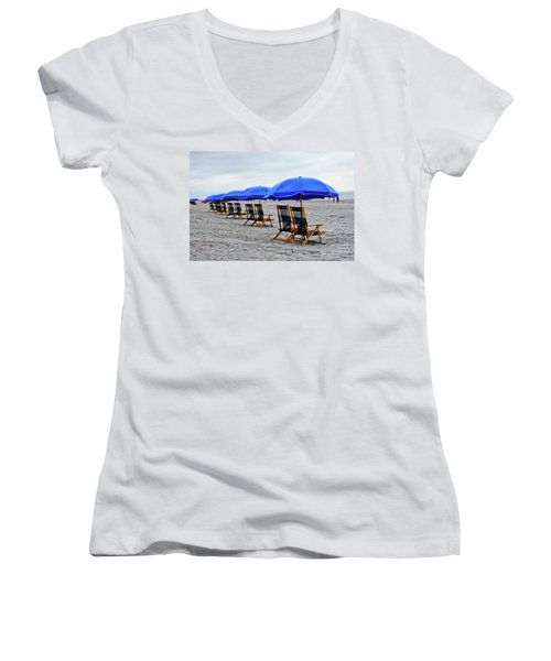 Slow Day At The  Beach Women's V-Neck (Athletic Fit)