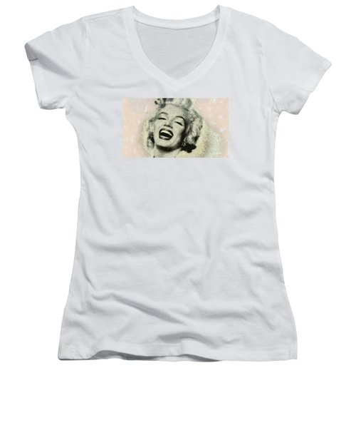Smile Marilyn Monroe Black And White Women's V-Neck T-Shirt (Junior Cut) by Georgi Dimitrov