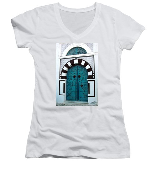 Women's V-Neck T-Shirt (Junior Cut) featuring the photograph Smiling Moon Door by Donna Corless