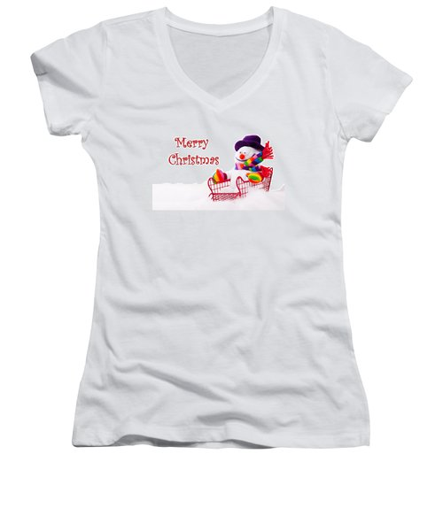 Women's V-Neck T-Shirt (Junior Cut) featuring the photograph Snowman Riding In A Red Sleigh - Christmas  by Vizual Studio