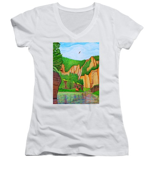 Smith River Montana Women's V-Neck T-Shirt (Junior Cut) by Joseph J Stevens