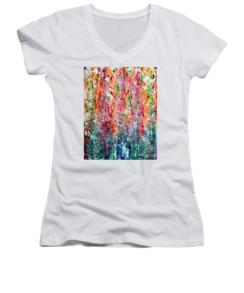 Snapdragons II Women's V-Neck T-Shirt (Junior Cut) by Alys Caviness-Gober