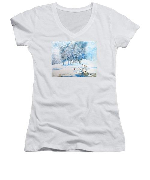 Snow Blizzard In The Grove  Women's V-Neck T-Shirt (Junior Cut) by Trudi Doyle