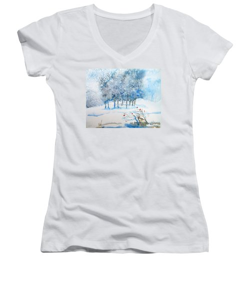 Snow Blizzard In The Grove  Women's V-Neck T-Shirt