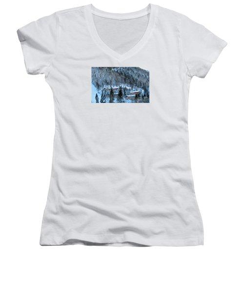 Snow Cabins Women's V-Neck T-Shirt