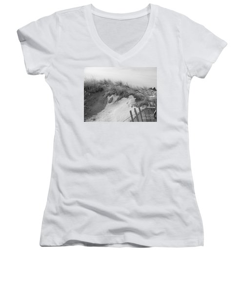 Women's V-Neck T-Shirt (Junior Cut) featuring the photograph Snow Covered Sand Dunes by Eunice Miller
