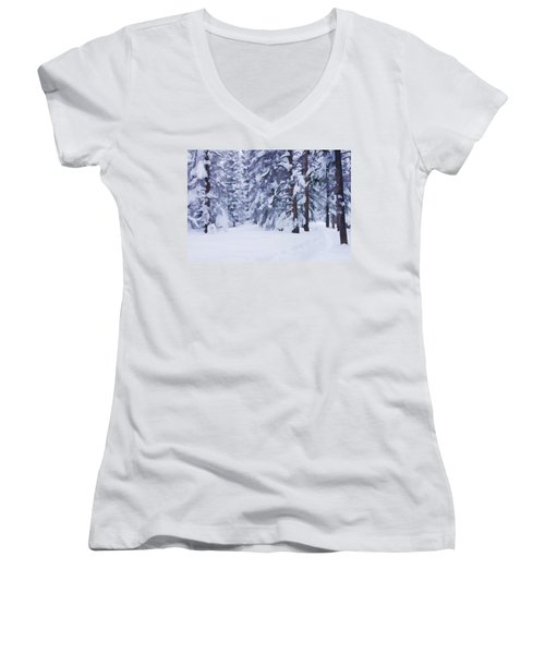 Snow-dappled Woods Women's V-Neck T-Shirt